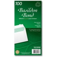 Basildon Bond Envelopes Recycled Wallet Peel and Seal 100gsm DL White Ref F80275 [Pack 100]