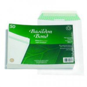 Basildon Bond Envelopes Recycled Pocket Peel and Seal 100gsm C5 White Ref B80277 [Pack 50]