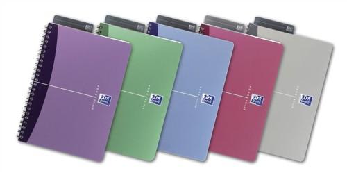 Oxford Office Notebook Wirebound Polypropylene 180pp 90gsm 110x170mm Assorted Ref 100105213 [Pack 10]