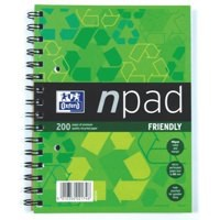 Oxford npad Notebook Recycled Wirebound Ruled Margin 200pp 80gsm A5 Green Ref 100080106 [Pack 3]