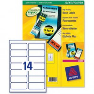 Avery Promotional Labels Laser 99.1x38.1mm Fluorescent Yellow Ref L7263-25 [Pack 350]