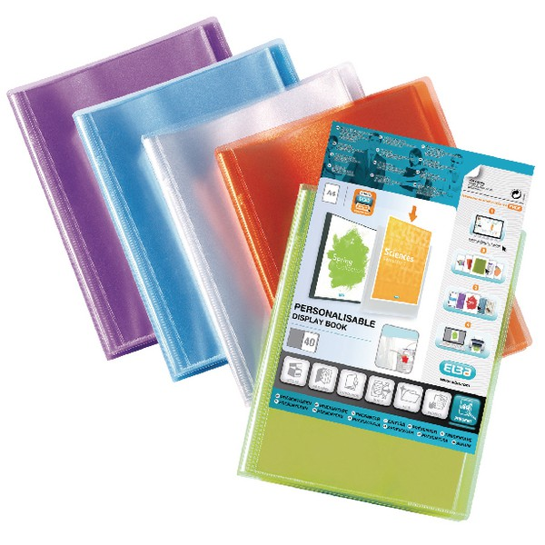 Elba Polyvision Display Book Polypropylene 40 Clear Pockets A4 Assorted Ref 100206230 [Pack 12]