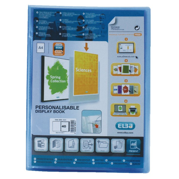 Elba Polyvision Display Book Polypropylene 40 Clear Pockets A4 Blue Ref 100206231