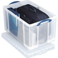 Really Useful Storage Box Plastic Lightweight Robust Stackable 84 Litre W444xD710xH380mm Clear Ref 84C