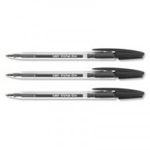 BIC Cristal Clic Ball Pen Retractable Medium Point 1.0mm Black Ref 850732 [Pack 20]