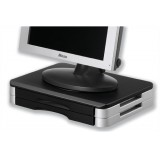 Monitor/Printer Stand Wood Platform Rotary Plate 10kg Load H74mm Black Silver