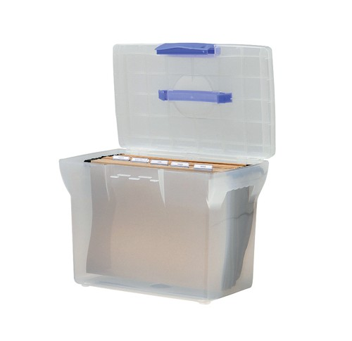 File Box Plastic for Suspension A4 White Lid W370xD240xH300mm Clear