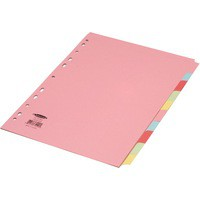 Concord Subject Dividers 230 Micron 10-Part A4 5 Colours Ref 72099/J20 [Pack 25]