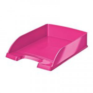 Bright Letter Tray Stackable Met Pink