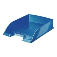 LEITZ BRIGHT LETTER TRAY STACKABLE GLOSSY METALLIC BLUE REF 52263036 [PROMO]
