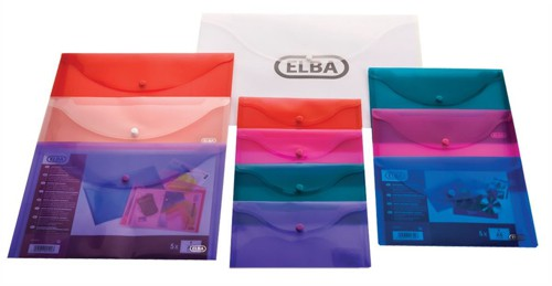 Elba Snap Wallet Polypropylene Integrated Stud Fastening A4 Translucent Assorted Ref 100081051 [Pack 5]