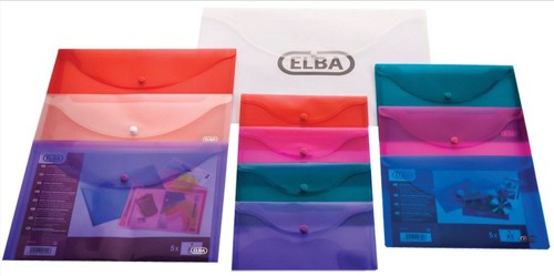 Elba Snap Wallet Polypropylene Integrated Stud Fastening A5 Translucent Clear Ref 100080748 [Pack 5]