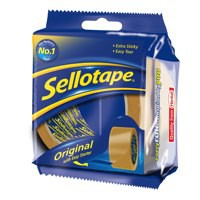 Sellotape Original Golden Tape Roll Non-static Easy-tear Large 48mmx66m Ref 1443304 [Pack 6]