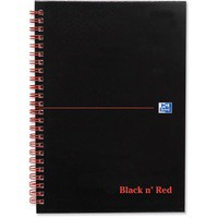 Black n Red Book Wirebound Ruled and Perforated 90gsm 140pp A5 Matt Black Ref 100080154 [Pack 5]