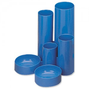 5 Star Desk Tidy with 6 Compartment Tubes Blue
