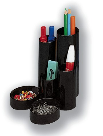 5 Star Desk Tidy with 6 Compartment Tubes Black
