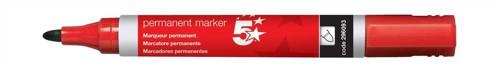 5 Star Permanent Marker Xylene/Toluene-free Smearproof Bullet Tip 2mm Line Red [Pack 12]