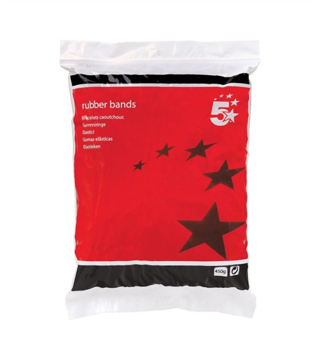 5 Star RubberBands No33 89x3mm 454g Bag