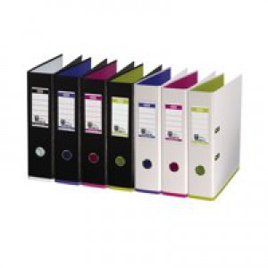 Elba MyColour Lever Arch File Polypropylene Capacity 80mm A4 White and Purple Ref 100081030
