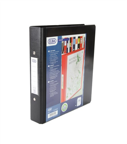 Elba Vision Ring Binder PVC with Clear Front Pocket 2 O-Ring Size 25mm A5 Black Ref 100080885