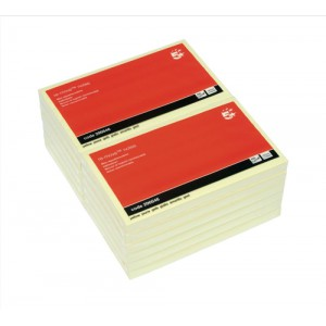 5 Star Re-Move Notes Repositionable Pad of 100 Sheets 76x127mm Yellow [Pack 12]