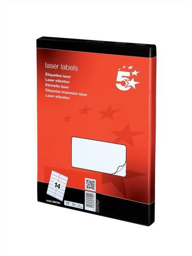 5 Star Addressing Labels Laser 14 per Sheet 99.1x38.1mm White [1400 Labels]