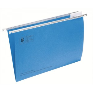 5 Star Suspension File Manilla Heavyweight with Tabs and Inserts Foolscap Blue Ref 100331399 [Pack 50]