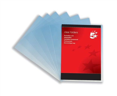 5 Star A4 Clr Folders 90Mic Pk100