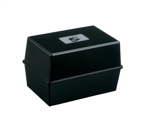 5 Star Card Index Box Capacity 250 Cards 6x4in 152x102mm Black