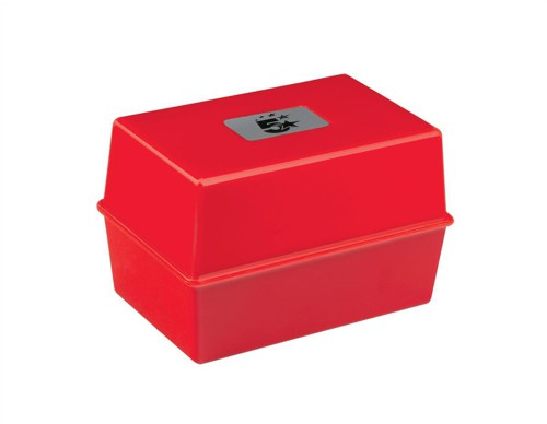 5 Star Card Index Box Capacity 250 Cards 6x4in 152x102mm Red