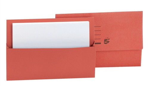 5 Star Document Wallet Fcap 250gm Red