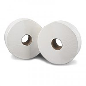 76mm Core 2Work Jumbo Roll 2-Ply White 92mm x410 Metres Pack of 6 J27410