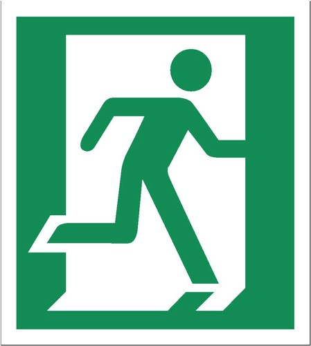 Stewart Superior Fire Exit Sign Man Left and Right 135x150mm Self-adhesive Vinyl Ref NS010