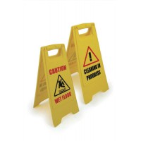 Image for Single A-frame Sign 2-sided 2 Messages Caution Wet Floor/Cleaning in Progress Yellow Ref SPC/FS01