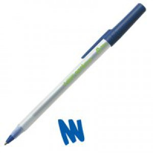 Bic Ecolutions Stic Ball Pen Recycled Slim 1.0mm Tip 0.4mm Line Blue Code 893240