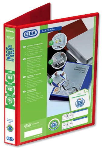 Elba Presentation Ring Binder PVC 4 D-Ring 25mm Capacity A4 Red Ref 400008506 [Pack 6]
