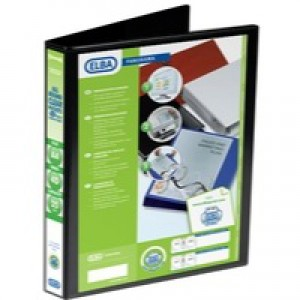 Elba Presentation Ring Binder PVC 4 D-Ring 25mm Capacity A4 Black Ref 400008414 [Pack 6]