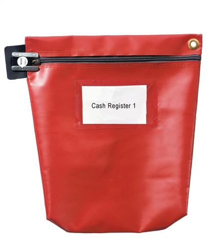 Versapak Cash Bag Tamper-Evident Zip Heavyweight Material Medium 267x50x267mm Red Code CCB0