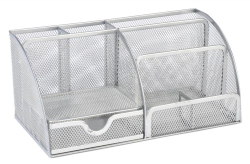 Large Desk Organiser Mesh Scratch Resistant with Non Marking Rubber Pads Silver