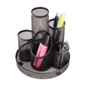 Pencil Pot Mesh Scratch Resistant with Non Marking Base 5 Tube Black