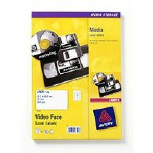 Avery Media Labels Laser Video Face 12 per Sheet 76.2x46.4mm Ref L7671-25 [300 Labels]