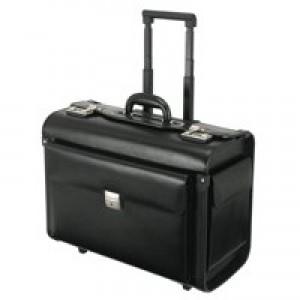 Alassio Silvana Trolley Pilot Case Laptop Compartment 2 Combination Locks Leather-look Black Ref 92301