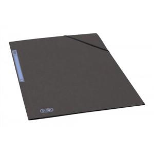 Elba Folder Elasticated 3-Flap 500gsm for 300 Sheets A4-Foolscap Black Ref 100200987 [Pack 10]