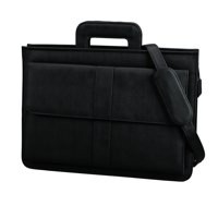 Image for Alassio Document Case Multi-section Zipped with Shoulder Strap Leather-look Black Ref 41024