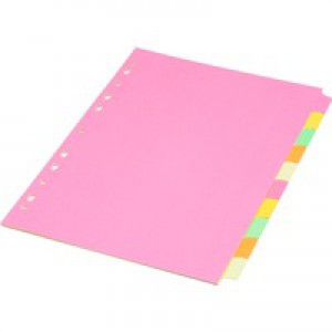 Concord Fluorescent Subject Dividers 230 Micron Punched 4 Holes 10-Part A4 Assorted Ref 89199