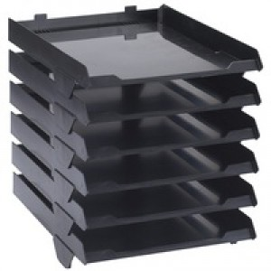 Avery Paperstack Self Stacking Letter Tray A4 250x320x300mm Black Code 5336BLK