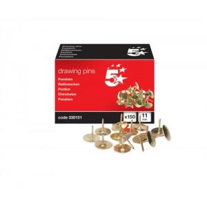 5 Star Brass Drawing Pins Box150