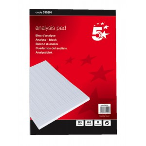 5 Star Analysis Pad Ruled 70gsm 8 Cash Column 80 Leaf A4 Ref 100080289