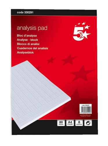 5 Star Analysis Pad A4 8 Column NS30291