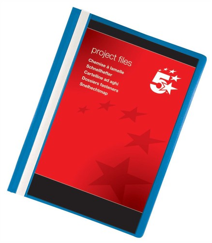 5 Star Project Flat File Lightweight Polypropylene with Indexing Strip A4 Blue [Pack 5]